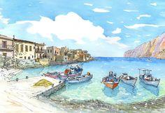Impresión de un Acuarela original de arte de Grecia Peloponeso Mani Gerolimenas Puerto