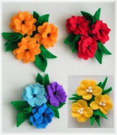 CzaryMaryDori: Broszki z filcu - kolorowe kwiatki / Felt flowers broochs
