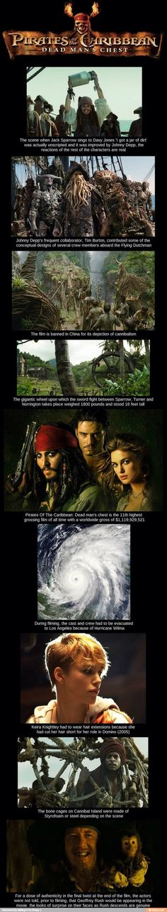 Pirates of the Caribbean: Dead Man's Chest fun facts! Disney Facts, Disney Memes, Movie Facts, Fun Facts, Awesome Facts, Disney And Dreamworks, Disney Pixar, Will Turner, Fandoms