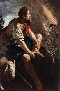 Domenico Fetti, 1613-14.While Moses was tending the flock of his father-in-law he came to Mount Horeb where he had a vision of a bush that burned but was not consumed.God spoke to him from the bush telling him that he was destined to deliver the Israelites out of the hands of their oppressor, the Egyptians, and to lead them into Canaan, 'a land flowing with milk and honey.'