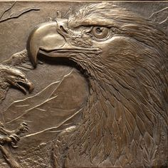 "Back from the foundry! Detail image of my newly cast, bronze ""Teton Pair"" sculpture - #wildlifeart #wildlifesculpture #reliefsculpture #bronzesculpture #grandtetonsnationalpark #eagles #bronzeartist #smallsculpture #birdart"