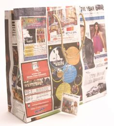Fair Trade recycled Indian newspaper bag with jute handle.  #Fairtrade #Newspaper #Recycled #Eco #Bag