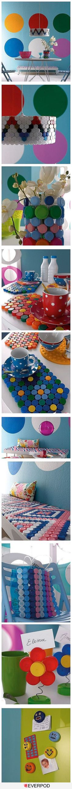 lids and caps from bottles, milk jugs, juice containers, etc. can make awesome DIY projects: