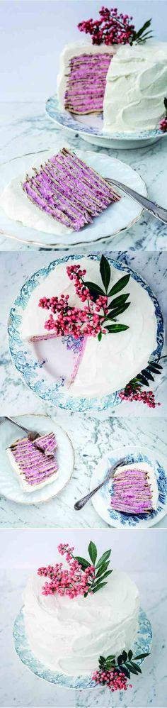 Almond Crepe Cake With Raspberry-Rose Cream - cake, cheese, dessert, raspberry, recipes, tart