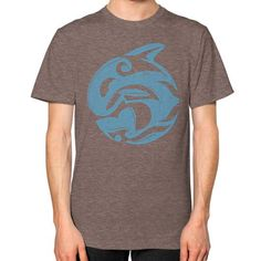 Tribal Killer Whale Tattoo in Blue Unisex T-Shirt (on man)