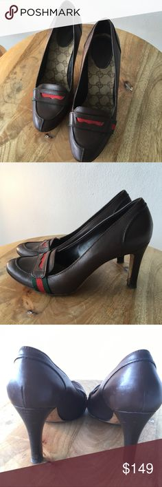 Classic Gucci Web Logo Career Loafer Pumps 37.5C Gorgeous classic Brown and Red with Green Gucci Web loafer pumps. These are a staple of any closet! Excellent condition. Not to planning to wear heels for awhile... so check out all my awesome shoes I'm selling!! Size 37.5C so comfy but not wide. Gucci Shoes Heels