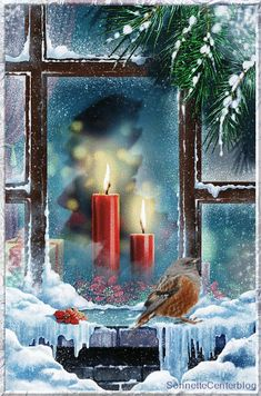 35 craft ideas for window Christmas decorations - Window craft ideas for red Christmas candles - Christmas Scenes, Noel Christmas, Christmas Candles, Vintage Christmas Cards, Christmas Pictures, Christmas Greetings, Winter Christmas, Christmas Decorations, Vintage Cards