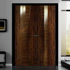 Sanrafael Lisa Flush Double Fire Door - L3 Style High Gloss Recon Ebony Prefinished. #internalhiglossdoors #higlossdoorpair #internaldesignerdoors