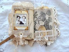 Fabric Lace Journal Vintage Journal Junk Journal Shabby