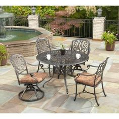 Home Styles Biscayne Bronze 5pc Dining Set 48 Table Rust Bronze