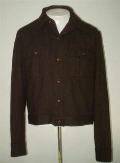 Mens Vintage 50s Braten IKE Jacket Button Front Wool Blend Brown Size 42 M-L