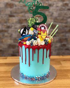 Avengers themed birthday drip cake for Martin Birthday Drip Cake, Avengers Birthday Cakes, Superhero Birthday Cake, 4th Birthday Cakes, Novelty Birthday Cakes, Novelty Cakes, Birthday Cake Kids Boys, Superhero Party, Cakes To Make