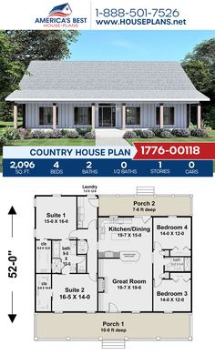 Get to know this outstanding Country home design! Plan 1776-00118 offers 2,096 sq. ft., 4 bedrooms, 2 bathrooms, two masters, a kitchen island, and an open floor plan. #country #architecture #houseplans #housedesign #homedesign #homedesigns #architecturalplans #newconstruction #floorplans #dreamhome #dreamhouseplans #abhouseplans #besthouseplans #newhome #newhouse #homesweethome #buildingahome #buildahome #residentialplans #residentialhome Country House Design, Country House Plans, Best House Plans, Dream House Plans, Floor Plan Drawing, Mediterranean House Plans, Dormer Windows, Construction Cost, Build Your Dream Home