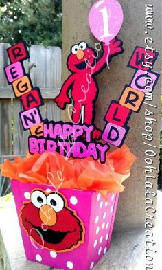 Personalized Elmo Centerpiece Elmo Birthday, 2nd Birthday Parties, Birthday Ideas, Sesame Street Party, Sesame Street Birthday, Elmo Centerpieces, Baby Elmo, Elmo And Friends, Planes Party