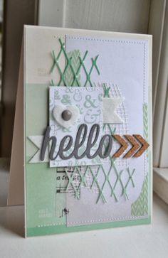 card with scripty words & letters, scripty hello fishnet background die - arrows - Marts kit - scripty hello
