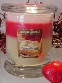 13 oz Status Jar Candle Strawberry Cheesecake Scent Candle by Unique Aromas. $26.93. Strawberry Cheesecake scent. Candle color may vary from photograph. Price per jar candle. This candle is sure to bring joy and warmth to all those in the presence of it.Some assembly may be required. Please see product details.Some assembly may be required. Please see product details.