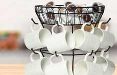 Kitchen Storage with White Mugs and Coffee Pod Storage