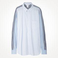 Comme des Garçons Shirt Man / Gingham Sleeve Striped Shirt