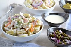Smoked Salmon Potato Salad with a Creamy Dill Dressing - would sub out the dill (oregano, sage, rosemary)