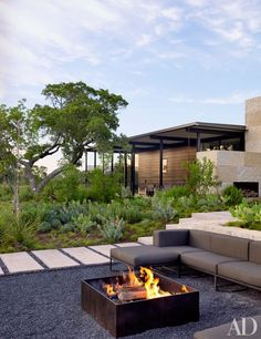 The fire pit at Sara Story's sprawling Texas retreat, a collaboration between the designer and Lake|Flato Architects
