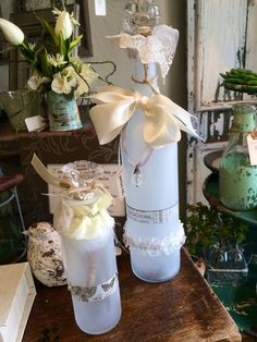 Frosted wine glasses...saw these in an adorable shop today and thought they'd be perfect as wedding center pieces