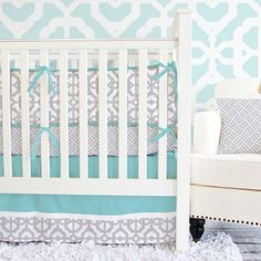 Caden Lane Crib Bedding Set Aqua and Gray Mod #laylagrayce