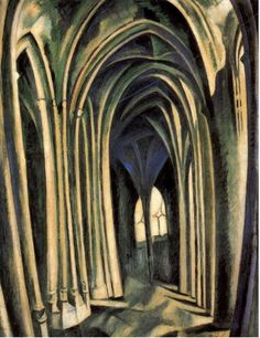 By Robert Delaunay (1885-1941), 1909-10, Saint-Séverin No3, Oil on canvas Museum: Guggenheim Museum. (Cubism)
