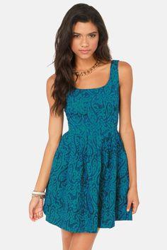 BB Dakota by Jack Corrine Blue Jacquard Dress at LuLus.com!