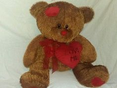 PLUSH SALE 25in brown LOVE BEAR heart patches cute friend for Adult or Kid