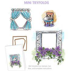 "***New Item*** Art Impressions, Mini Try'folds Cling Rubber Stamp Set, 10""X4.5"" - Garden Window"
