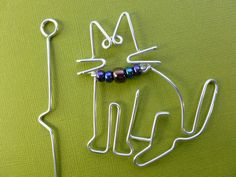 SITTING CAT shawl pin  wirework by chatnoir77 on Etsy, $16.00