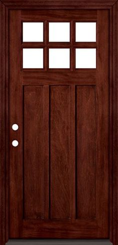 "6-Lite ""Shaker Style"" Craftsman Mahogany Wood Entry Front Door with Matching Jambs and Brickmould"