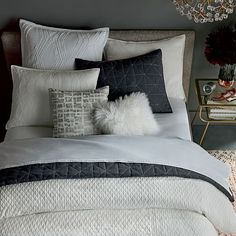 Ripple Texture Duvet Cover Full/Queen Stone White at West Elm Bedding White Bedding White Bedroom Decor Southern Living, West Elm Bedroom, Textured Duvet Cover, White Bedroom Decor, Bedroom Ideas, Affordable Bedding, Luxury Bedding Sets, Modern Bedding, Upholstered Beds