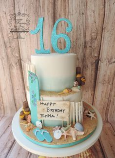 Beach cake for Sweet 16 birthday.  Surfboard, shells and all decorations made from gum paste.