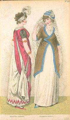 Full, or Dancing Dress and Walking Dress, April 1800, Fashions of London &…