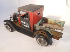 red model t Ford scale car model hand made art in 1/24 scale size