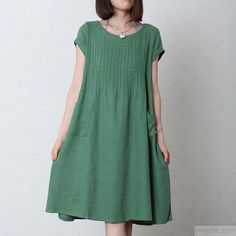 Green cotton sundress oversize summer linen maxi dress