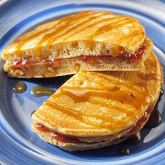 Peanut Butter Pancakes - This comfort food fusion is an effortless crowd pleaser. Just spread grape jelly between warm peanut butter-flavored pancakes. For a different twist, add chocolate chips to the pancake batter before cooking in place of the jelly