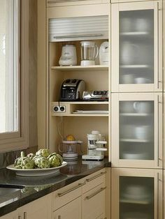 Uplifting Kitchen Remodeling Choosing Your New Kitchen Cabinets Ideas. Delightful Kitchen Remodeling Choosing Your New Kitchen Cabinets Ideas. Kitchen Appliance Storage, Kitchen Cabinetry, Small Kitchen Appliances, Appliance Garage, Kitchen Pantry, Kitchen Organization, Appliance Cabinet, Kitchen Sink, Organization Ideas