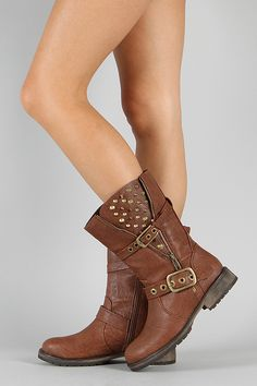 Breckelle Rocker-17 Studded Spike Zipper Riding Boot