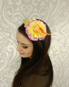 Strawberry and Lemmon Sherbert Pastel Spring Colors Headband, Flower Headband, Mori-Kei Fashion, Lolita Headband by RuthNoreDesigns on Etsy