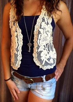 Cute lace vest, with key necklace and jean shorts Chose your tank top color!