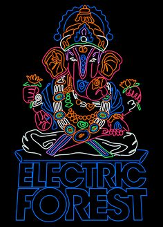 Electric Forest - Neon Elephant - Close-up of neon detail by Kipp Creations
