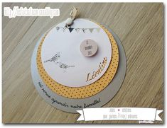 Faire-part de naissance gris, moutarde et liberty Baby Invitations, Baby Birth, Baby Cards, Wedding Cards, New Baby Products, Stampin Up, Card Making, Packaging, Layout