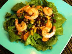 Shrimp spinach black bean salad = amazing
