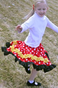 Minnie Mouse Dots Tiered Twirl Skirt by EllieJayneDesigns on Etsy, $35.00