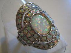 Luxus 925 Silber Ring Weißer Feueropal Cabochon Cluster Vintage Art Gr. 18,4