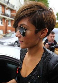 Frankie Sandford - Side View of Layered Short Pixie Cut