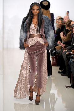 Lady velvet. To complete the collection! Look FW 2012 - Rachel Zoe. Mauve Velvet Capri Pants with Mauve-Pink Lace Blouse-Cape, with Mauve Satin belt & Grey-Blue Fake Fur Coat! Dreamy!