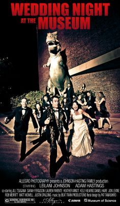 Movie Poster from Bridal Party Photo at Wedding | Museum of Science | Boston | design and photo by Allegro Photography